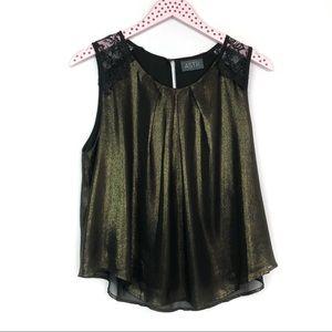 ASTR Black Gold Shimmer Lace Shoulder Tank Blouse